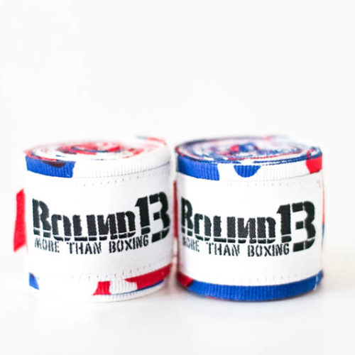 Vendas de boxeo Semi Elasticas Camouflaje Blanco Azul Rojo Round 13
