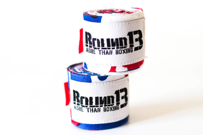 Vendas de boxeo Semi Elasticas Camouflaje Blanco Azul Rojo Round 13 par