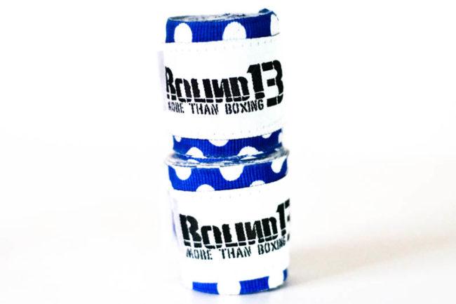 Vendas de boxeo Semi Elasticas Polka Dot Azul Round 13 par
