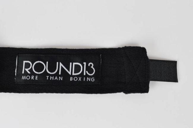 Vendas de boxeo de Algodon color negro Round 13 logo