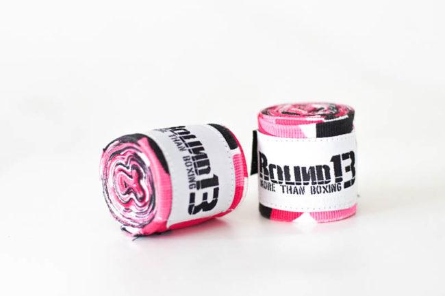 Vendas de boxeo semi elasticas Camuflaje Rosa Round 13