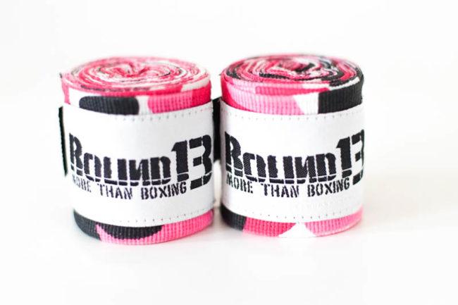 Vendas de boxeo semi elasticas Camuflaje Rosa Round 13 par